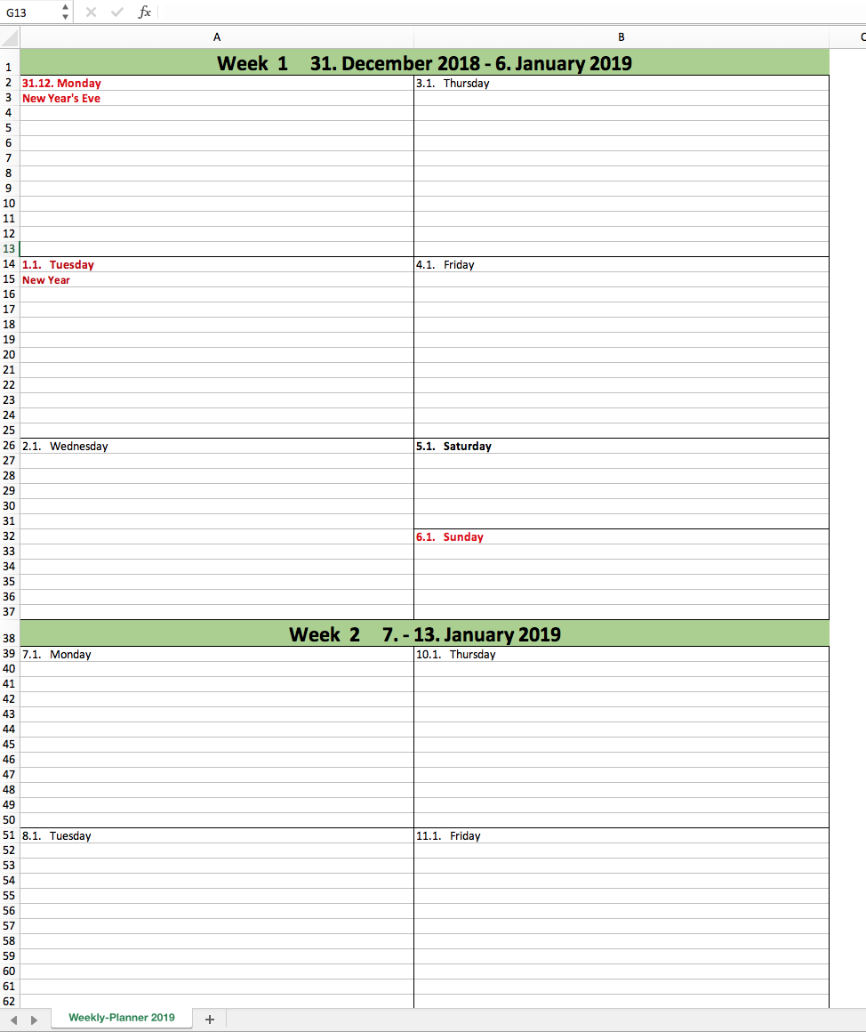 preview of the free weekly planner 2019 with excel