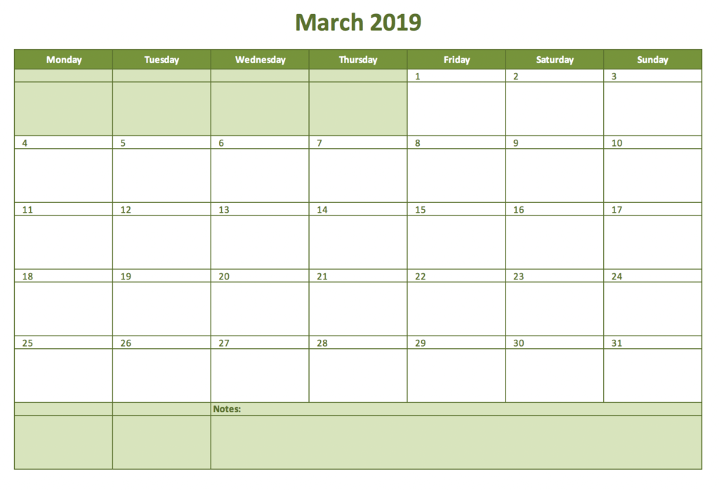 Monthyl calendar for 2019 with Excel
