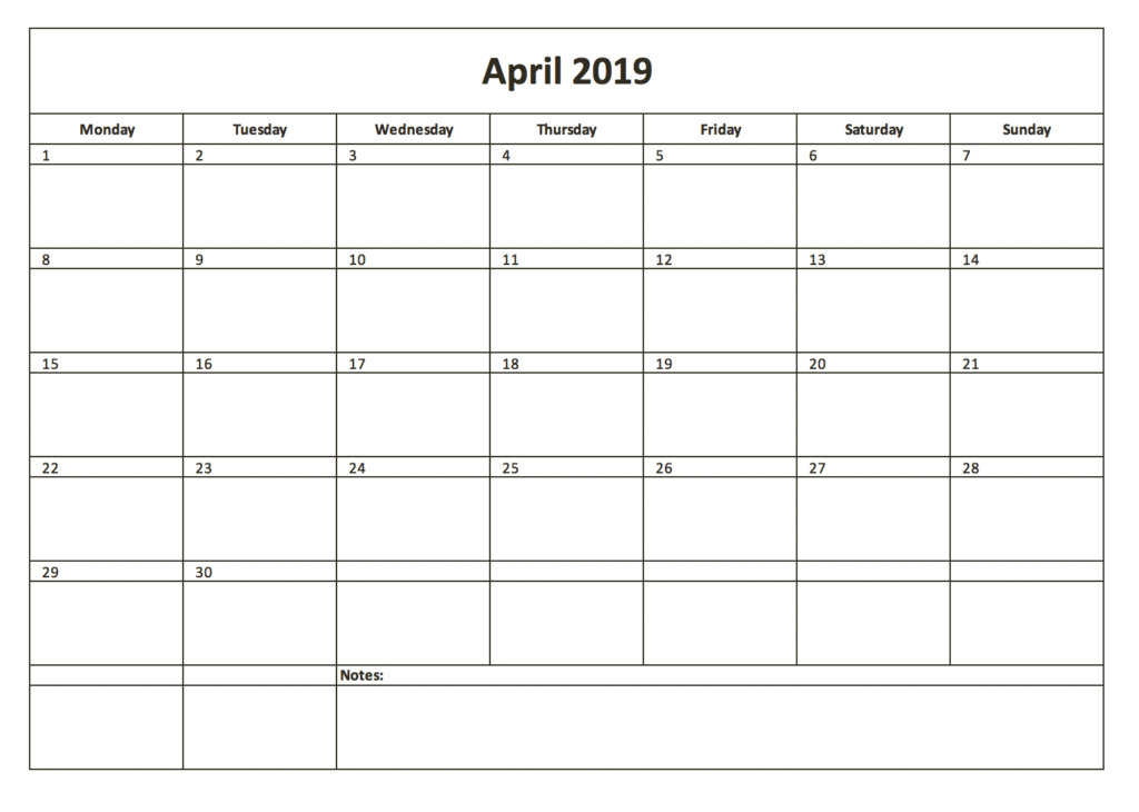 Monthyl calendar for 2019 with Excel in black & white