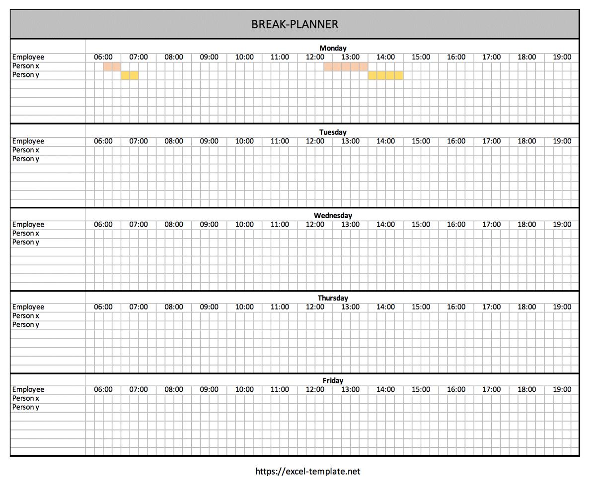Break Planner Excel
