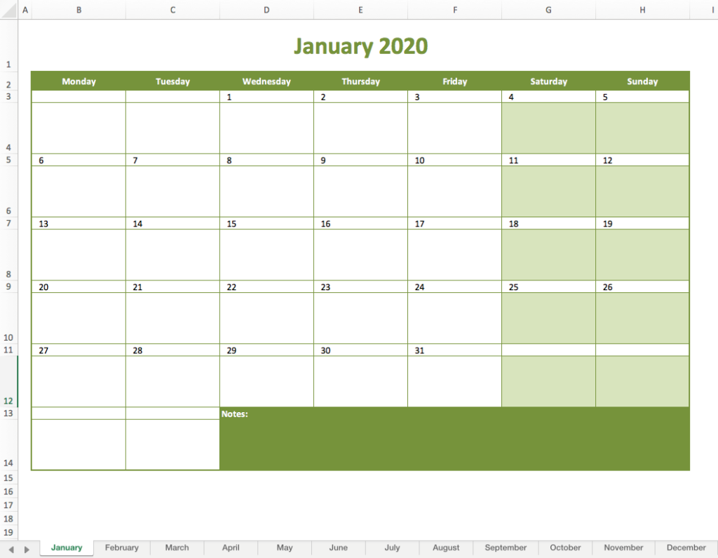 Monthly calendar 2020 excel preview