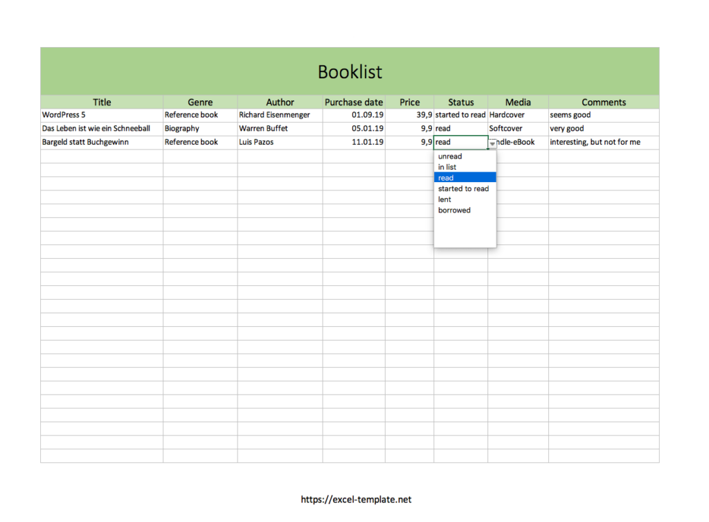 Booklist Excel