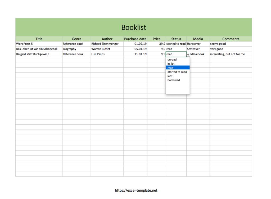 Booklist Excel