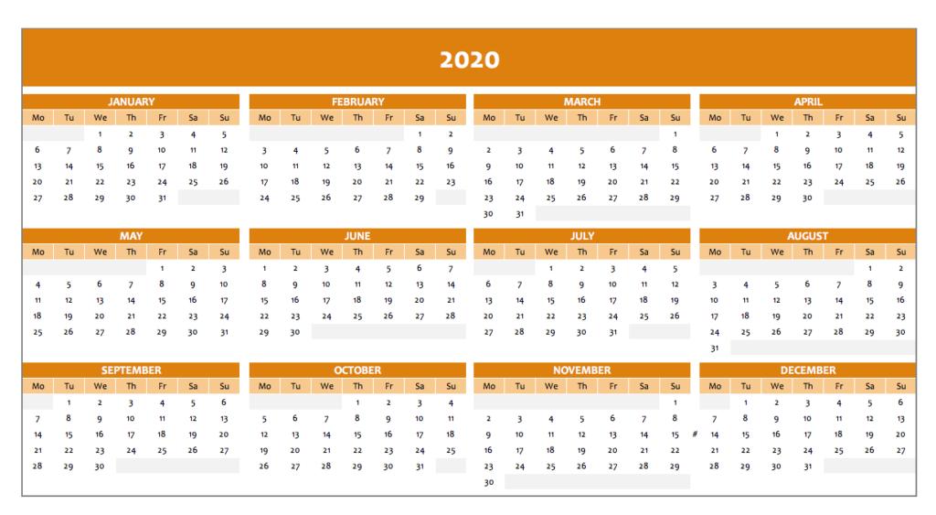 Calendar 2020 in orange