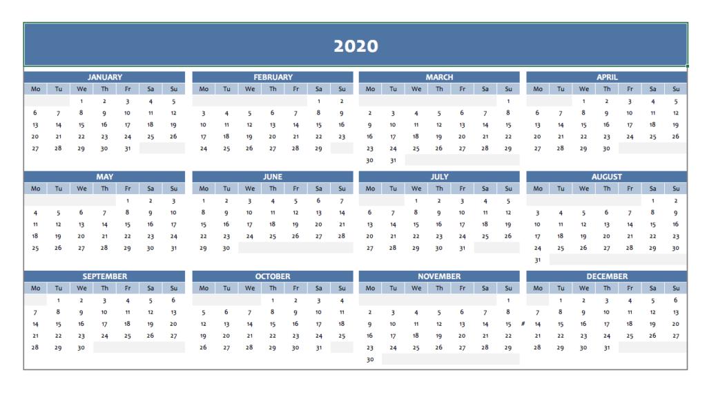 Calendar 2020 in blue