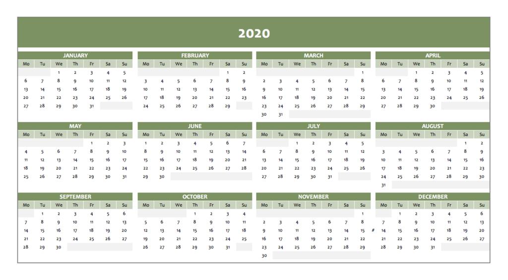 Calendar 2020 in green