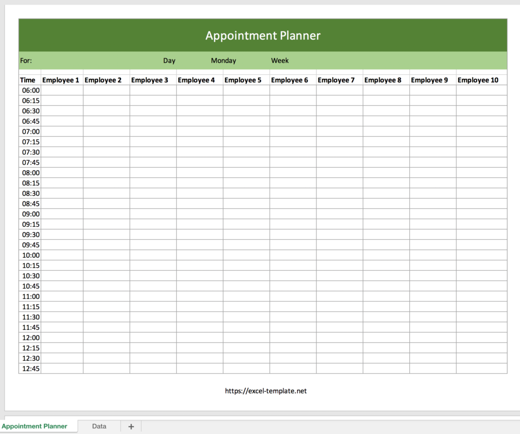 Excel Appointment Planner For Free