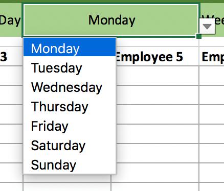 Choose weekday