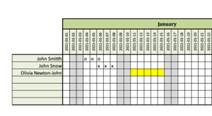 Editing the planner 2021 within Excel
