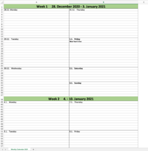 Weekly planner 2021 excel template (preview)