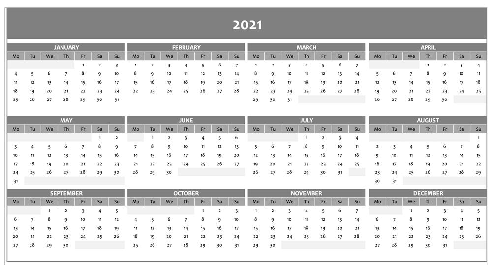Annual calendar 2021 Excel grey