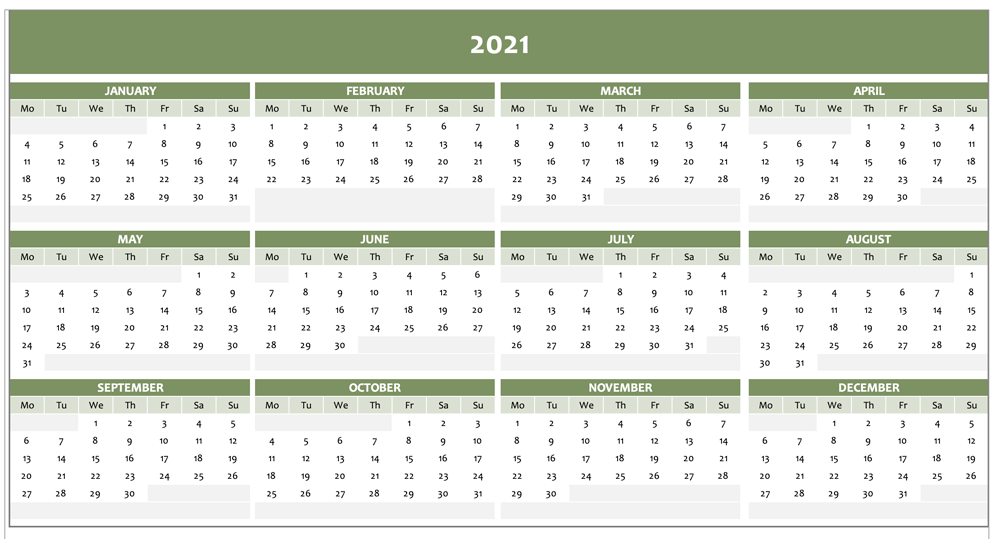 Yearly calendar 2021 Excel in green