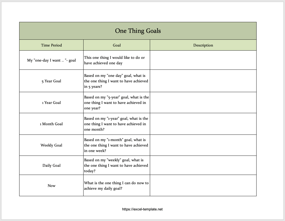 One Thing Goals 2021 Excel Template