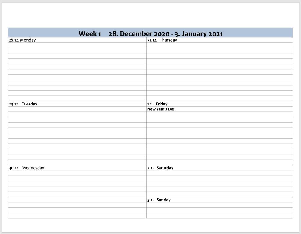 Weekly planner 2021