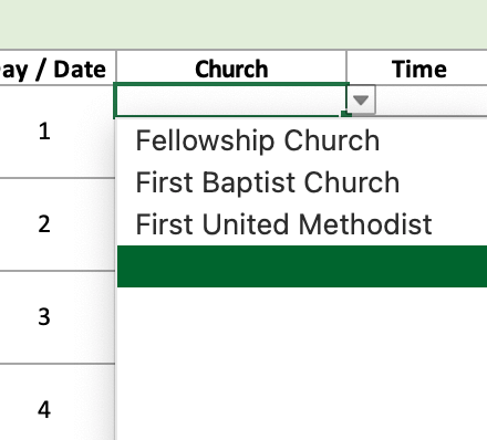 Choose your church from dropdown