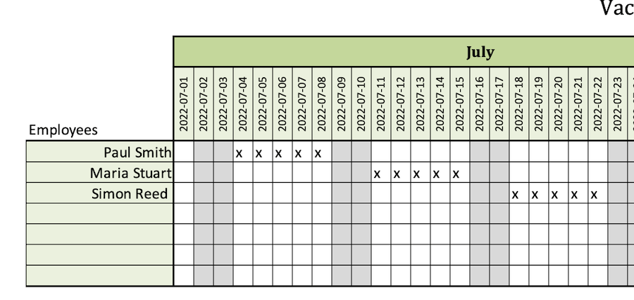 Using the vacation planner in excel