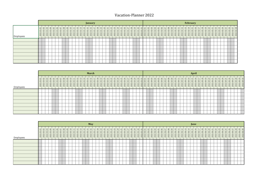 Screenshot of the vacation planner for 7 employees